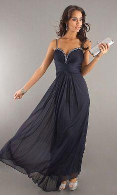 popular simple long chiffon black spaghetti prom dress   Cheap special occasion dresses Sale