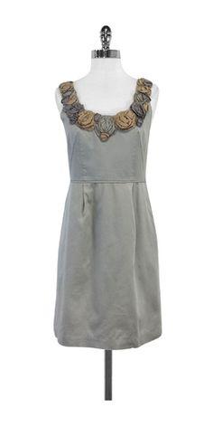 Baraschi Grey Floral Embellished Neckline Dress