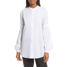 d423759912cf4e Women s Robert Rodriguez Puff Sleeve Cotton Poplin Shirt ( 275) ❤ liked on Polyvore  featuring