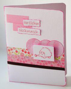 Karte zur Geburt Igel rosa von Sophie ne s'ennuie pas auf DaWanda.com