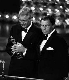 1970 Oscars: Cary Grant receives an honorary Oscar, with Frank Sinatra