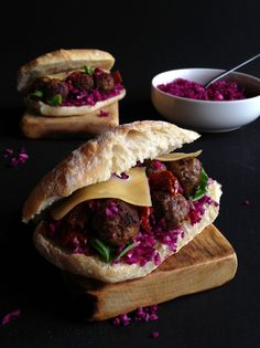 Meatball and Red Cabbage Sandwich - made my own modified version of this {used the google translator so I could read recipe in English} and it came out great.