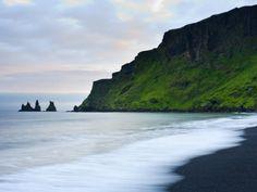 Black Sand Beach and Reynisdrangur Sea Stacks, Vik, Cape Dyrholaey, South Coast, Iceland