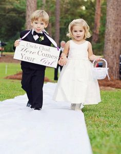 Here Comes Your Girl with Uncle (Grooms Name) and/or And they lived Happily ever after. 8X16 in, Wedding Sign. Ring Bearer, Flower Girl. by OurHobbyToYourHome on Etsy https://www.etsy.com/listing/96695491/here-comes-your-girl-with-uncle-grooms