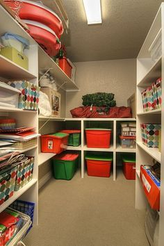 Storage area for holiday decorations.  I would like a space to leave my Christmas tree decorated.  I would cover it up so all I have to do is uncover and roll it out for the next year.   How wonderful would that be?!