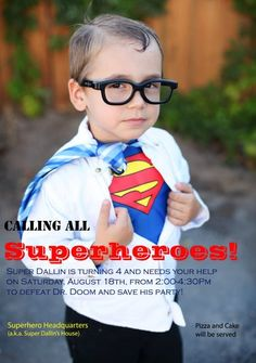 Superhero Birthday Party: Superhero Birthday Party Invitation Could do costume similar to this - open shirt with Wonder Woman underneath? Superman Party, Batman Y Superman, Superhero Birthday Party, 4th Birthday Parties, Boy Birthday, Spiderman, Superman Halloween, Birthday Ideas, Superman Costumes