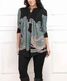 Look at this Teal & Black Cloud Notch Neck Tunic - Plus on #zulily today!