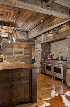 : Remarkable Wooden Striped Ceiling And Wall With Mural Installed In Rustic Kitchen With Cabinet Hinges On Wood Glossy Floor