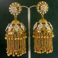 Gold Tone Cz Jhumki Earrings @ IndiatrenD For $23.99USD