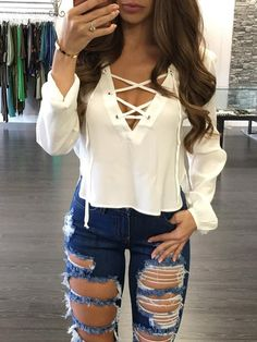 Lace Up Side Split Plunge Blouse