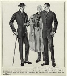 Men In Suits, One Being Helped On With His Coat, United States, 1910s.] From New York Public Library Digital Collections.