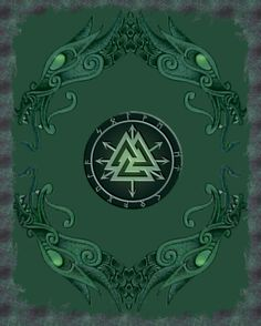 Odin's Valknut, and Loki's 'Chaos Star' (related to the Ægishjálmur), merged. Collage by Rasmus utilizing a dragon design bt Colin Dale.