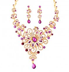 Purple Peacock Crystal Necklace & Drop Crystal Earrings Set Crystal Jewery Set with Golden Chain ,$64.00