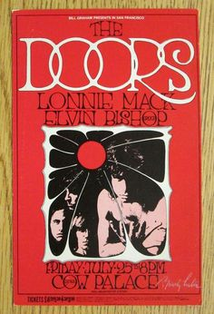 Original concert postcard for The Doors and Lonnie Mack at Cow Palace in San Francisco, CA in 1969.  Hand-Signed by the artist Randy Tuten. BG186. 7.25 x 4.5 inches. Corner bumps, stains on back.