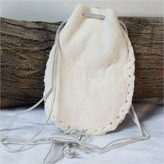 White Leather Medicine, Sage Pouch, Stone, Spirit Bag, Potions, Mojo 5.5 X 5