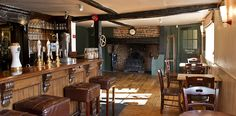 The Greyhound in Aldbury - Euston to Tring, then footpath for 1 mile, the end.....
