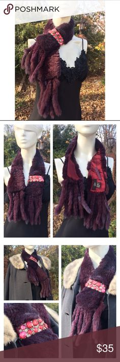 """Burgundy Rabbit Fur Stole Collar Sequined Beaded Listing for a real rabbit fur stole in a deep burgundy colour that is truly beautiful in person. It has never been worn.  It can be worn as a scarf, a collar or a stole.  The photos capture the rich colour.  Please note the glamorous acrylic beaded and sequined clasp detail that's a true throwback to the days of old Hollywood silver screen beauties!  It measures: Width 3.5"""" Length with tassels 38.5"""" Excellent condition- brand is Luii. Dry…"""
