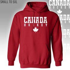 Canada Hockey Hoodie //// Red Hooded Sweatshirt  //// Small to 5X #hockey #jersey #canada #canadian #hockeydad