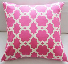 Pillow Cover Decorative Slipcover 18x18 Pillow in Raspberry and Cream. $24.00, via Etsy.