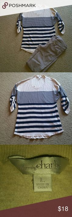 Charming Charlie size L sweater Charming Charlie size L 3/4 length striped sweater. Cream with navy blue horizontal stripes. Sweater is very thin. Made from 100% cotton. Charming Charlie Sweaters