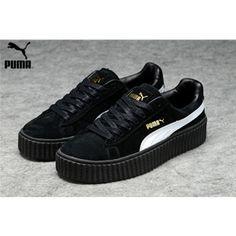 ad6aabf2748 Men s Women s Fenty Puma by Rihanna Suede Creepers Shoes Black White Fenty  Puma