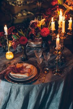 autumnal, colorful, and candlelit dining