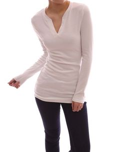 Patty Boutik V Neck Long Sleeve Stretch Pullover Fitted Casual Tunic