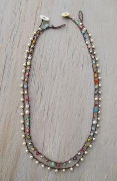 Ultra Dainty crochet necklace Tiny Treasures Multi by slashKnots