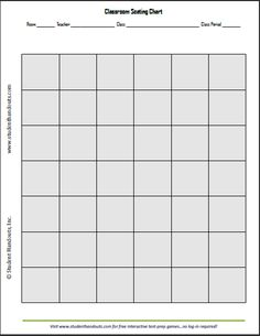 Free Printable Vertical Classroom Seating Chart K 12 Education And