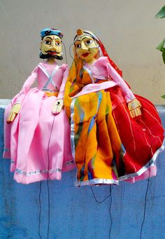 Puppets from Udaipur. Puppet making is not a major craft in Udaipur and there are very few artisans left. Puppets of Udaipur are different from those found in other parts of Rajasthan. There is more attention to details for example the puppets have well painted faces with bigger eyes and males are depicted with traditional  Rajasthani beard.