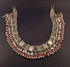 Old vintage bedouin silver and red glass beads head ornament from Yemen