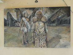 Mamasa indigenous South Sulawesi Canvas 150x120 cm Oil Paint By : Daniel Toraja
