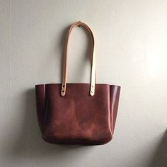 Brown Leather Handmade Tote • Rustic Brown Leather Bag by Hatton Henry