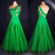 High quality rhinestones Waltz modern dance costumes sleeveless expansion dance companionship one-piece dress performance wear