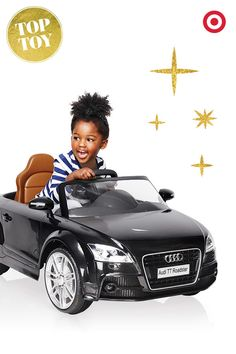 Vroom vroom! Watch your tiny driver put the pedal to the metal in this luxurious gift for kids, the KidTrax Audi TT Roadster ride on. Includes working headlights and real car sounds.