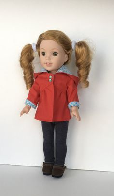 Red hooded jacket for 14.5 inch dolls by MySewYouCreations on Etsy. Made from the Fog Chaser Coat for WellieWishers and Hearts for Hearts Girls Dolls pattern. Find it here http://www.pixiefaire.com/products/fog-chaser-coat-for-welliewishers-dolls. #pixiefaire #fogchasercoatforwelliewishersandheartsforheartsgirlsdolls