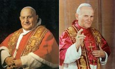 "Found on the #CarmeliteSistersForTheAgedAndInfirm Facebook page | ""Thank you, God, for gifting the Church with Saint John Paul II and Saint John XXIII!"""