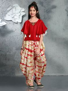 Shop Red cream printed silk crop top style salwar suit online from India. Baby Girl Frocks, Frocks For Girls, Gowns For Girls, Dresses Kids Girl, Kids Outfits Girls, Girl Outfits, Baby Dresses, Kids Girls, Baby Dress Design