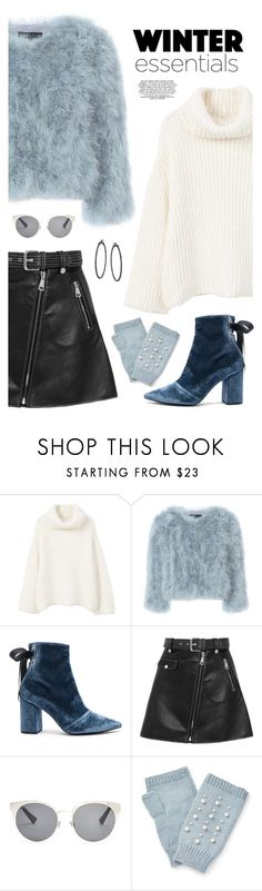 """""""#PolyPresents: Wish List"""" by catchsomeraes ❤ liked on Polyvore featuring MANGO, Jocelyn, self-portrait, Maje, Christian Dior, Miss Selfridge, booties, contestentry, fauxfur and polyPresents"""