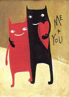 Cat ACEO Print - LOVE - Folk Art Valentine Red Heart Mini Print with Two Cats…