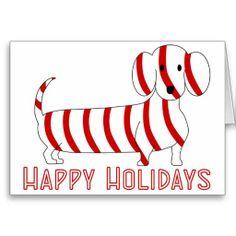 Happy Holidays Dachshund #Christmas #cards #greeting #candy cane #dachshund #dogs