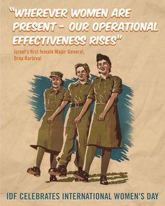 Vintage IDF poster celebrating international women's day