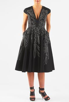 I <3 this Graphic embroidery cotton poplin dress from eShakti