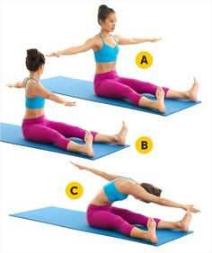 In general, almost every move in Pilates works your core, but if you want to flatten your abs then there's definitely a way how you can do it. We offer you 9 belly-sculpting Pilates exercises that shape a six-pack in no time. Pilates Workout, Pilates Moves, Pilates Training, Ab Workouts, Ab Moves, Pilates Yoga, Pilates Reformer, Fitness Motivation, Fitness Diet