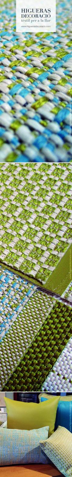 Telas para exteriores. Colores vivos y frescos en una gama de lisos y semi lisos. Telas impermeables para usar en muebles para el jardín, alrededor de la piscina, terrazas y patios. www.higuerasdecoracio.com