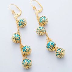 """Party Sale!Gold & Blue Party Drop Earrings! NWOT, 18K Gold Plated Drop Dangle Earrings! Classy & Elegant with Beautiful Gold Detail & Blue Dangling Pearls! Metal-Real 18K Gold Platinum Plated, Environmental Copper, Tarnish Resistant; Weight ~ 4grams, Measure ~3"""" Total Length-see pic, Lever Back Style.Please ask any questions before purchasing!! Price Firm unless Bundled!! ❌Trades ❌PP Jewelry Earrings"""