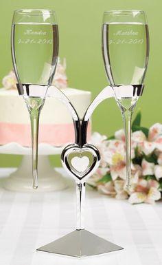 Baseless wedding champagne flutes.