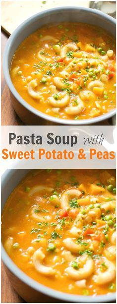 Pasta Soup with Sweet Potato & Peas