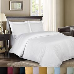 Stripe White Split-King: Adjustable King Bed Size Sheets, 5PC Bed Sheet Set, 100% Cotton, 300 Thread Count, Sateen Striped, Deep Pocket, by Royal Hotel //http://bestadjustablebed.us/product/stripe-white-split-king-adjustable-king-bed-size-sheets-5pc-bed-sheet-set-100-cotton-300-thread-count-sateen-striped-deep-pocket-by-royal-hotel/