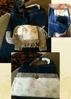 Repurposed denim...Elephant Tote bag. New and repurosed buttons  beads and fabrics. My mom made it. .cant take the credit:)